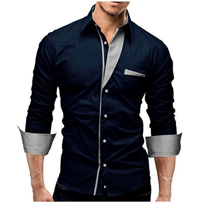2017 Fashion Brand Camisa Masculina Long Sleeve Shirt Men Solid