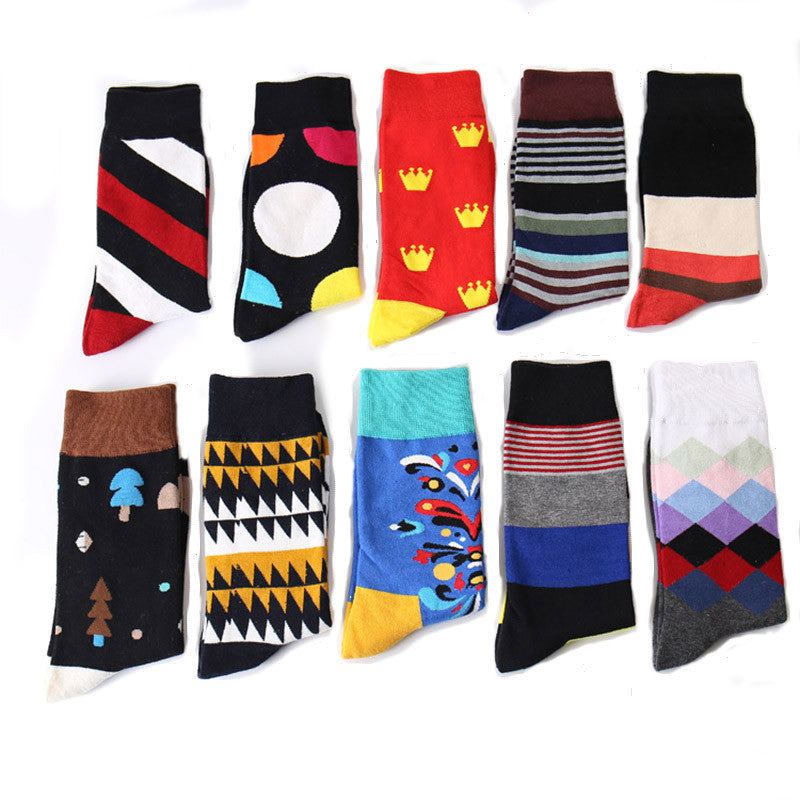 10 Pairs/Set Surblue Men Socks colorful funny Cotton Stripe Dress