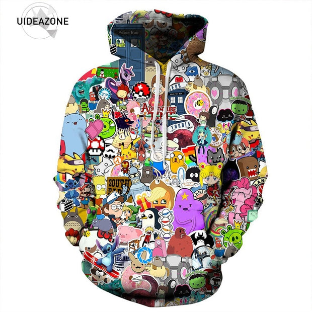 2017 All Over Printed Adventure Time Hoodie Cartoon Character