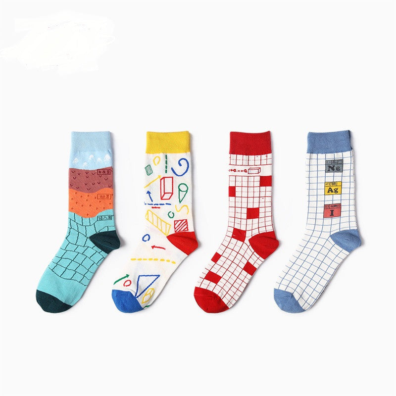 2017 Colour  Geometry Patterns Men/women Cotton Crew Socks Casual