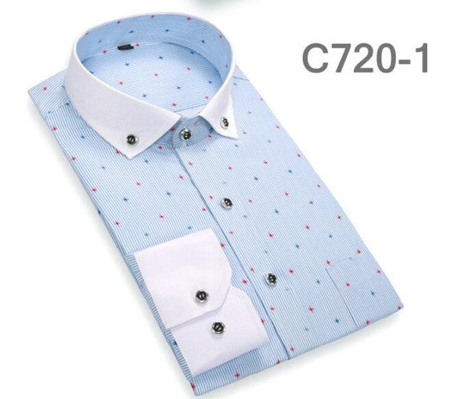 2017 Fashion Autumn Men Shirts Casual Turn-down Collar Male Dots Shirt