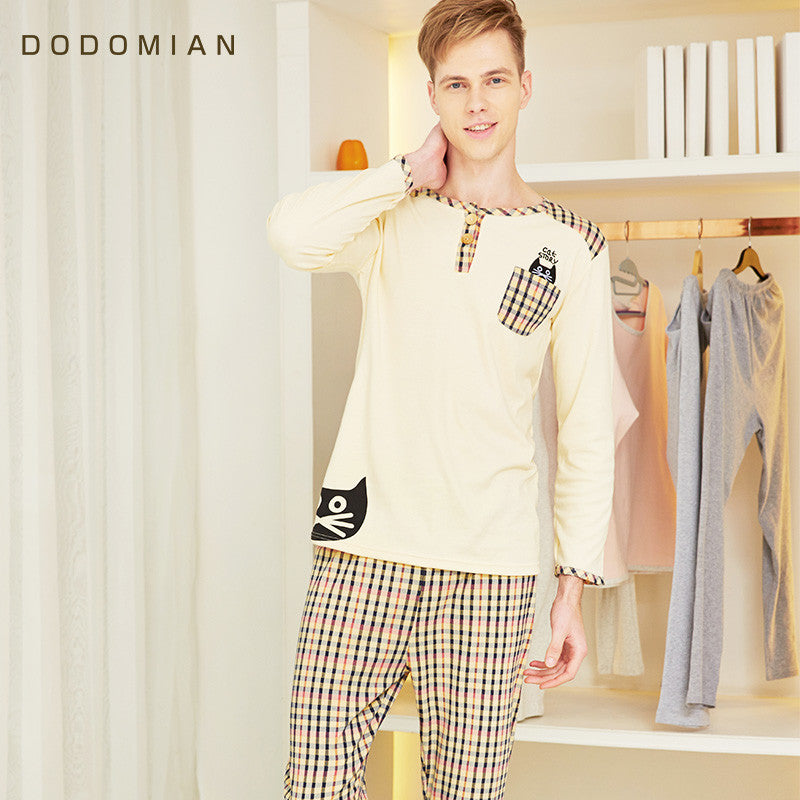 2 Piece Men Loungewear Soft  Bathrobe Set Plaid Sexy Sleepwear For Men