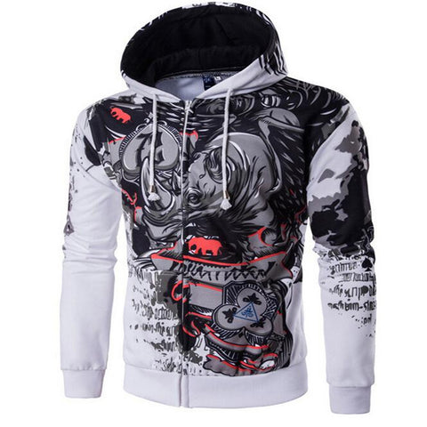 Men's 2017 Hooded Hip-Hop Sweatshirt Fun 3D Zipper Body Rhinoceros Hooded Men's Pullover