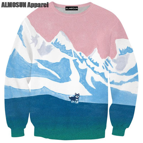 ALMOSUN Snow Lone Wolf 3D All Over Print Crewneck Pullover Sweatshirts Hipster Animal Hip Hop Sportwear Jumper Unisex