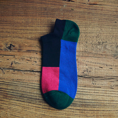 1Pair Casual Summer Men's Socks Art Colorful Low Cut Socks Ankle
