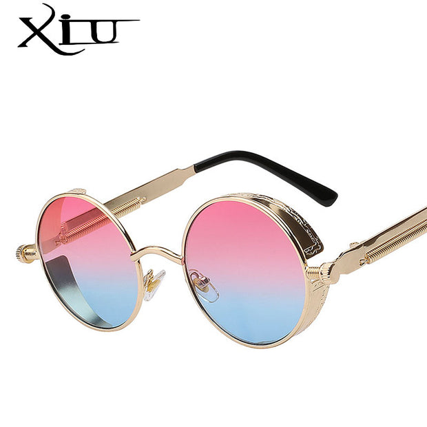 XIU Gothic Steampunk Mens Sunglasses Vintage Metal Men Sunglasses