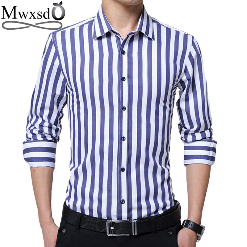 Mwxsd Striped Men Dress Shirts Long Sleeve Plus 5XL Business Formal