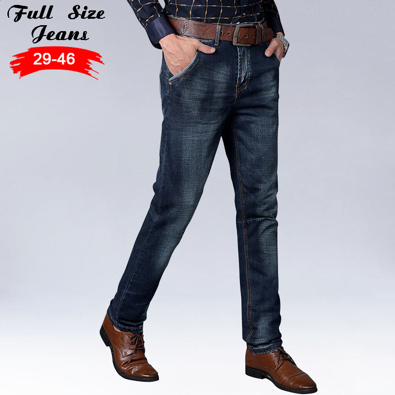 2017 Autumn Spring Designer Plus Size Dark Blue Straight Jeans Men