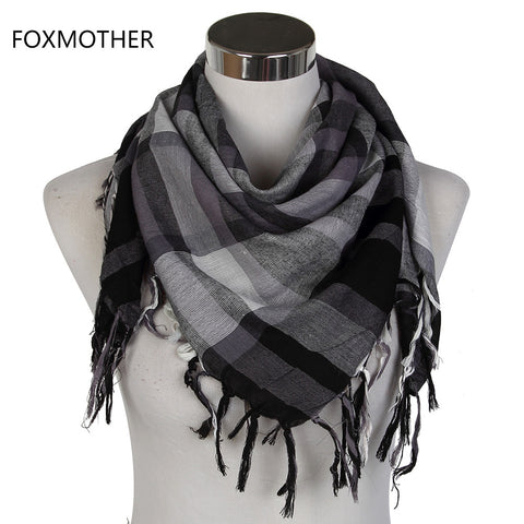 FOXMOTHER 2017 Male Grey White Multicolor Arab Keffiyeh Shemagh Military Plaid Square Scarves Mens