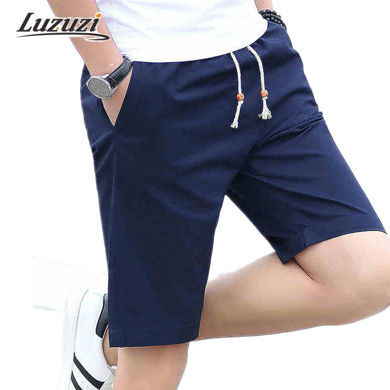 1pc Men Shorts 2017 Summer Solid Mens Shorts Casual Cotton Slim