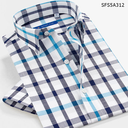 Smart five 100% Cotton Mens Shirts 2017 Summer Casual Shirt Short