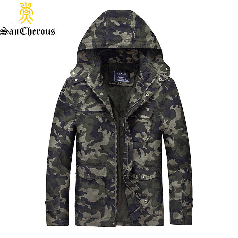 2017 Hot Sale Hood Zipper Casual Army Camouflage Men Jacket Thick High