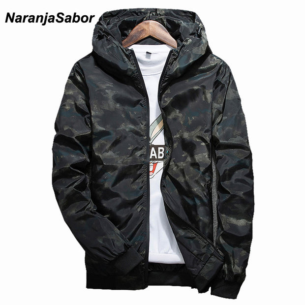 NaranjaSabor Spring Autumn Mens Casual Camouflage Hoodie Jacket Men