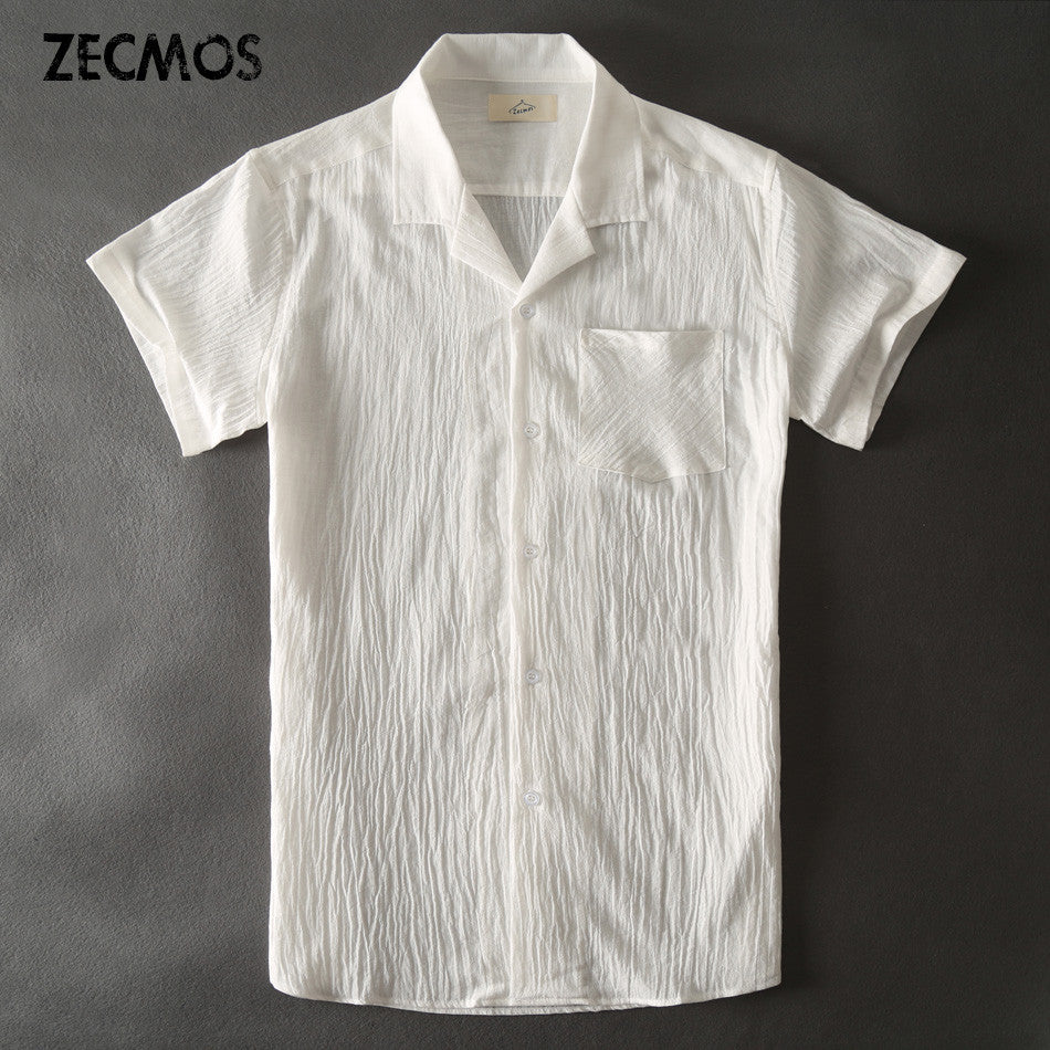 Zecmos Hawaiian White Casual Shirts Men Linen Short Sleeve Shirt