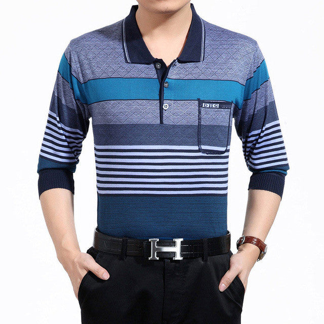 2017 fashion brands striped long sleeve polo shirt wear men camisa