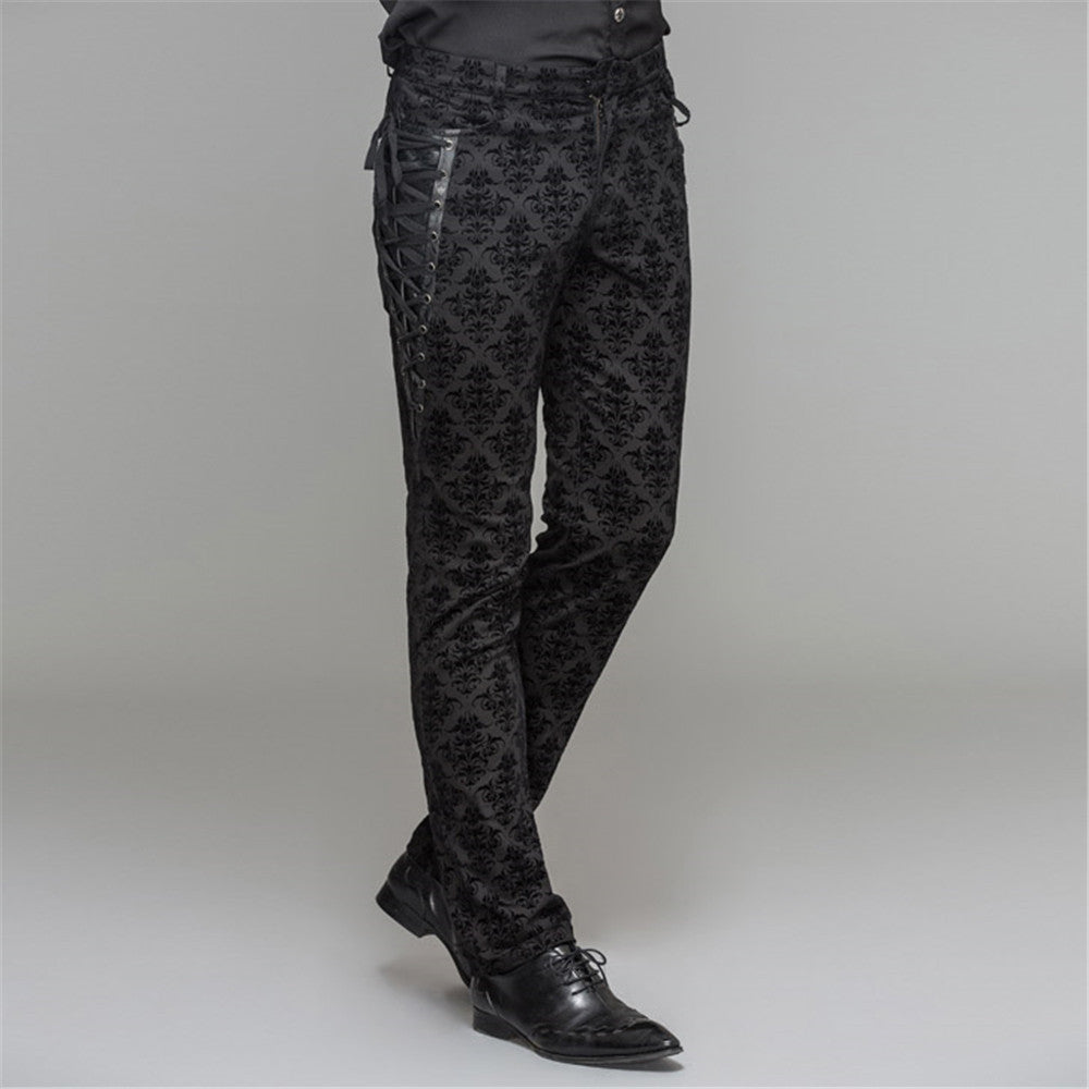 Punk Men's Cotton Dress Pants Victorian Printed Bandage Bridal Pants