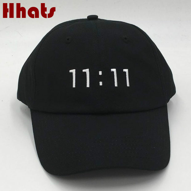 which in shower rapper black stitched 11:11 dad baseball cap
