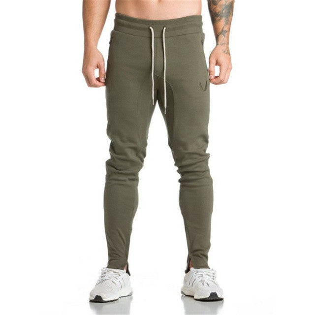 HZIJUE 2017 New Gyms Mens Joggers Skinny Sweat Pants Embroidery Tights