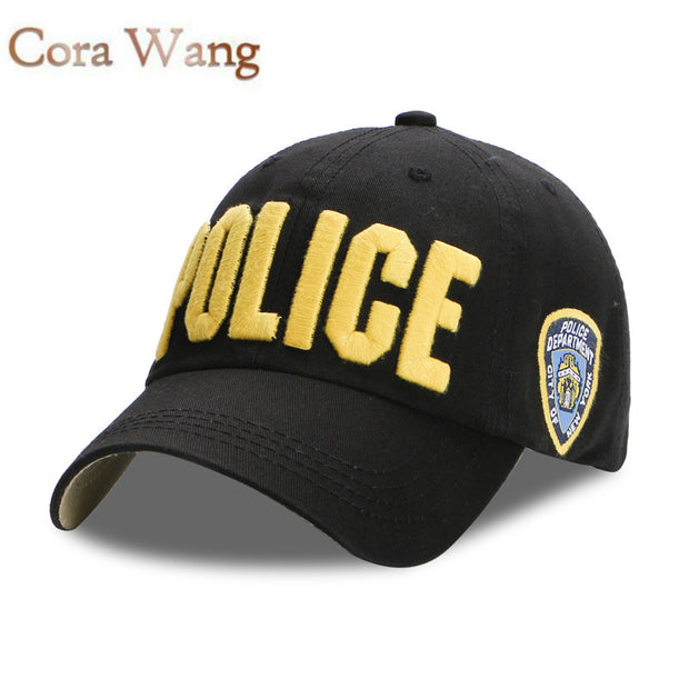 Cora Wang POLICE Baseball Cap for Men Navy Cotton Gorras Hat