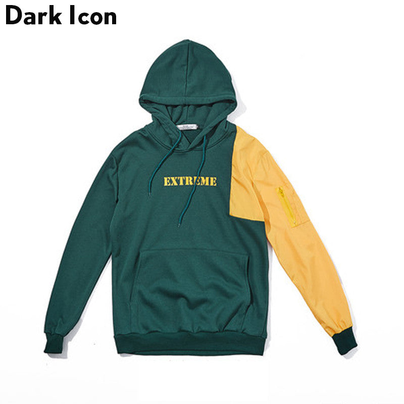 Patchwork Color Block Sweatshirt with Hoodie Men 2017 Spring New