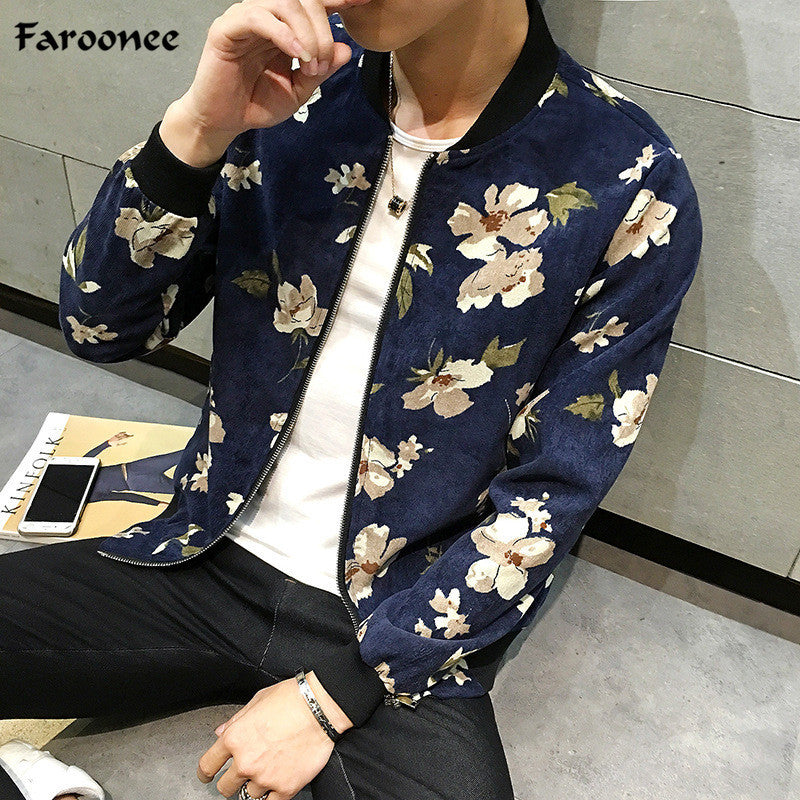 Faroonee Men Floral Bomber Jackets Spring Fashion Long Sleeve Stand