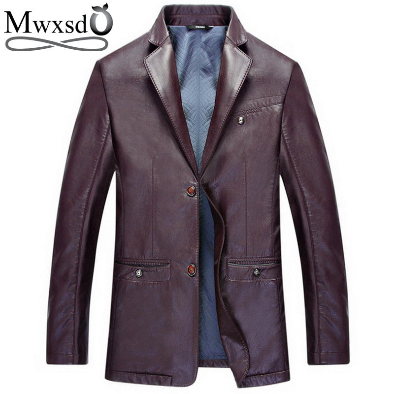 2017 autumn winter men PU leather solid Jacket men's leather jacket