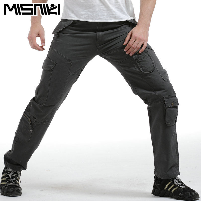 MISNIKI Hot Fashion Men Casual Pants Cotton Multi-Pocket Solid Mens