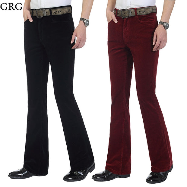 Free Shipping Men's Autumn Corduroy Boot Cut Pants Male Mid Waist