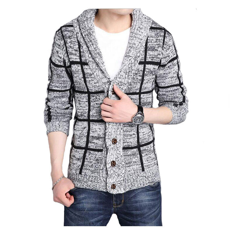 2017 British Style Knitted Sweater Men Fashion Solid Cardigan Sweaters