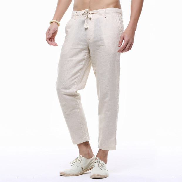 Linen Pants men ankle-length pants Summer thin Casual solid Linen