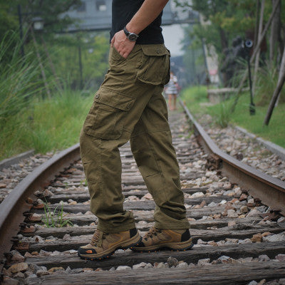 2017 Mens tactical War Game Cotton Cargo pants Male loose Casual Pants