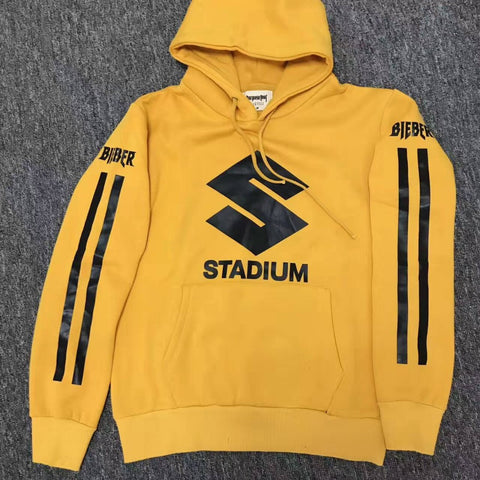 2017 NEW Style JUSTIN BIEBER STADIUM TOUR yellow men Hoodies hiphop Fashion Casual black stripes Purpose Tour Sweatshirts S-XL