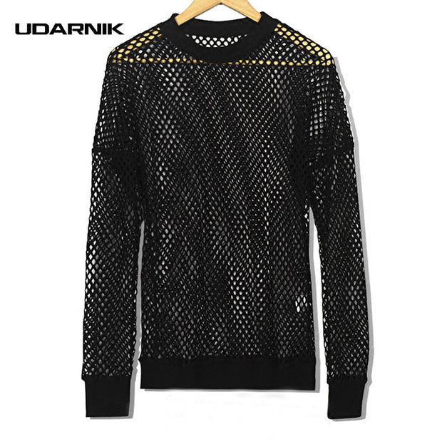 Men Fishnet Mesh Top Shirt T-shirt Dance Gothic Punk Long Sleeve
