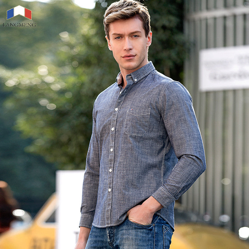 Langmeng 2017 New Arrival Casual Shirts Men Spring Autumn Solid
