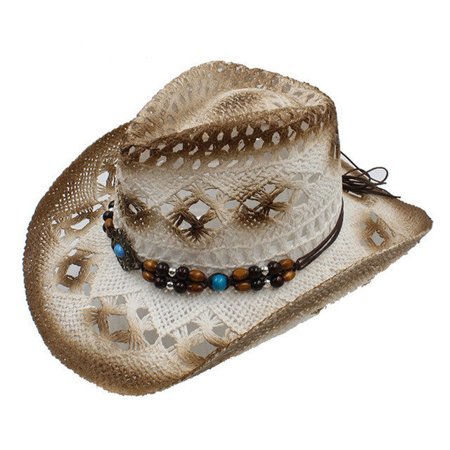 100% Handwork Summer Women's Men's Raffia Hollow Western Cowboy Hat