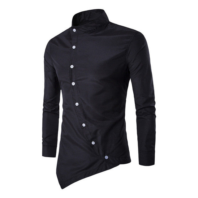 2017 Brand Luxury Men's Stand Collar Shirts Long Sleeve Asymmetric