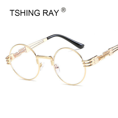 TSHING RAY Gothic Men's Steampunk Sunglasses Men Metal Wrap Vintage Round Shades Designer Sun Glasses For Male Mirror Eyeglasses
