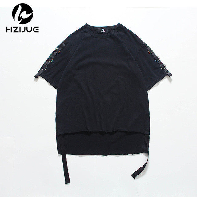 HZIJUE 2017 Summer Men T-shirt Hip-hop Long Hem Oversized Homme Hop