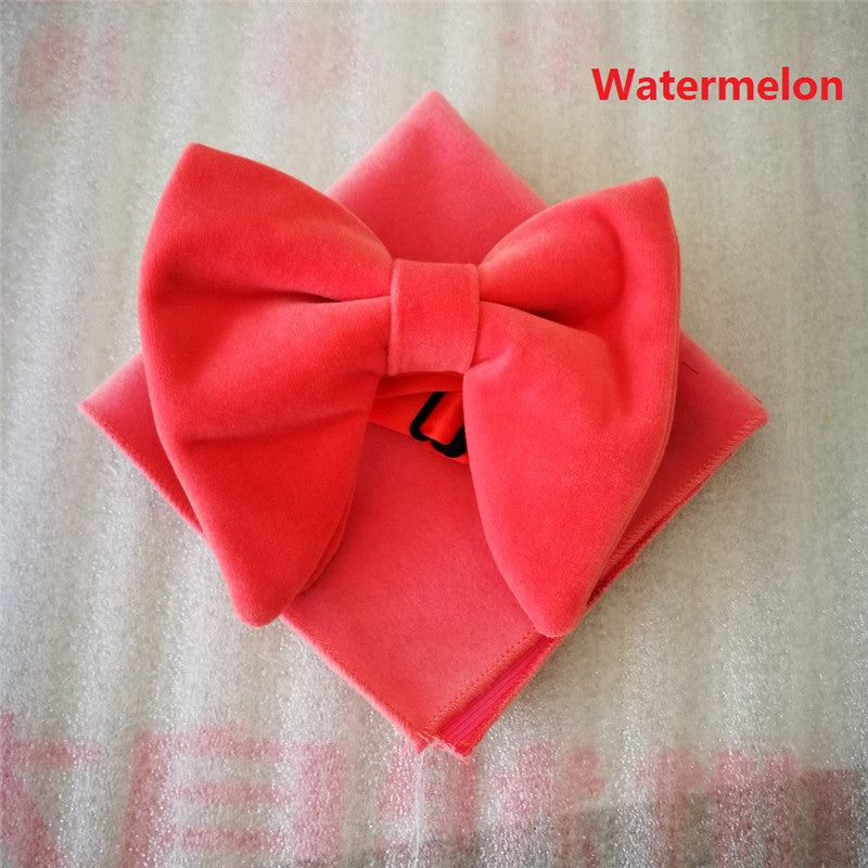 Fashion Mens Watermelon Velvet Bowties Sets Matching hanky Unique