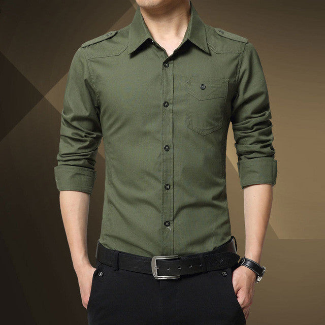 2016 Men's epaulette Shirt Fashion Full Sleeve epaulet Shirt