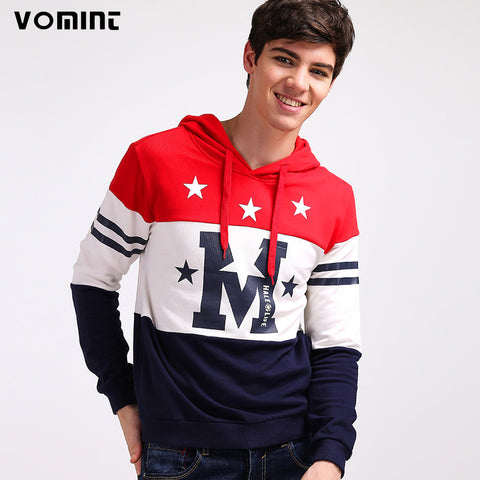 VOMINT 2017 New Mens Sweatshirts Hoodie Hat M Stars Letter Print Youth Campus Wear Red White Blue Color H6PI2J91