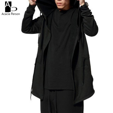 Men Hooded Jacket Black Gown Best Quality Hip Hop Mantle Hoodie Sweatshirts long Sleeves Cloak Coats Outwear Man Fashion Z107