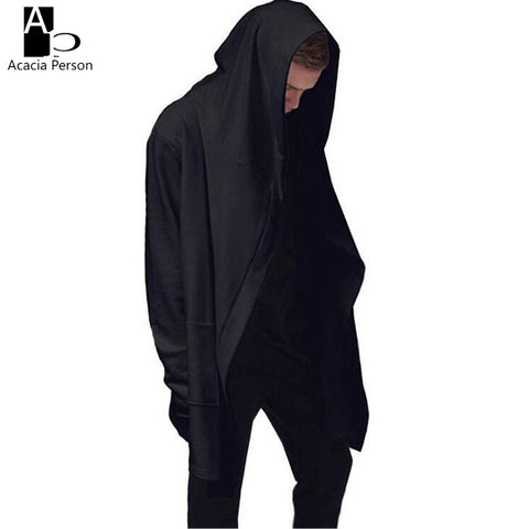 2017 Hoodies America Black Cloak Men Full Sleeve Hood Mantle Outwear Men Extend Longline Shawl Hoodie Men Hip Hop Streetwear Z04