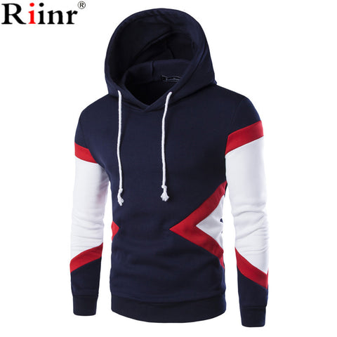 Riinr 2017 Men's Sweatshirts & Hoodies Male Tracksuit Hooded Jackets Fashion Casual Jackets Clothing For Men Size M-2XL Tops