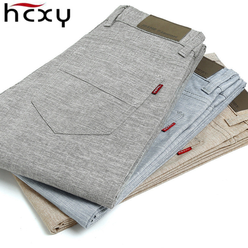 HCXY 2017 high quality Men's Linen Pants men Casual summer  thin