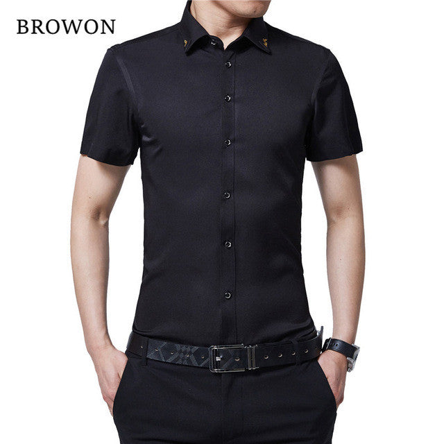 BROWON Brand New Summer Men Tuxedo Shirt Solid Color Turn Down
