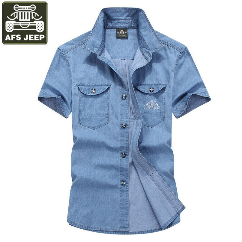 AFS JEEP Brand Jeans Shirt Men Casual Shirts Summer Men Brand Clothing