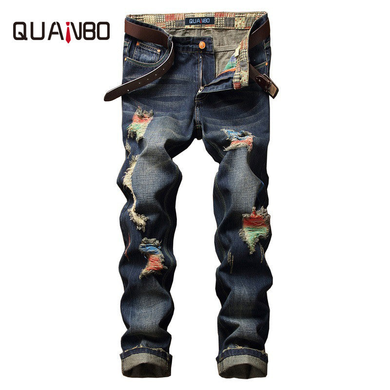 QUANBO 2017Summer  Hight Quality Brand Jeans Mens Street Hole Ripped