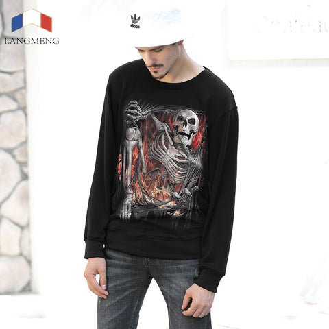 LANGMENG 2017 New Casual Skeleton Printed Warm Hoodies Men Brand Clothing Fashion Autumn Winter Male Hoodies Men Sweatshirt
