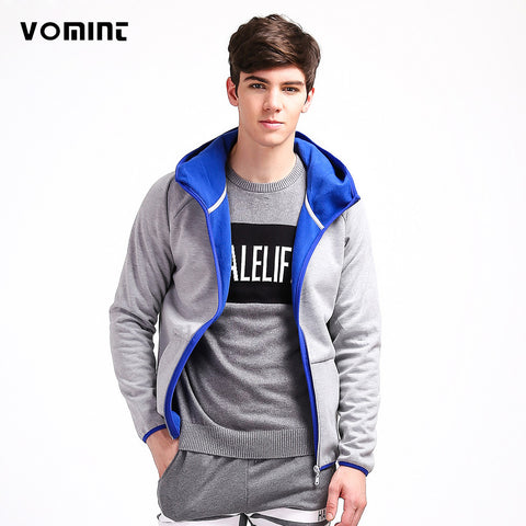 VOMINT Brand 2017 Mens Zipper Hoodies with Hat Cotton Sporting Coats Composite Flannel Fabric Wear H6QIZ303